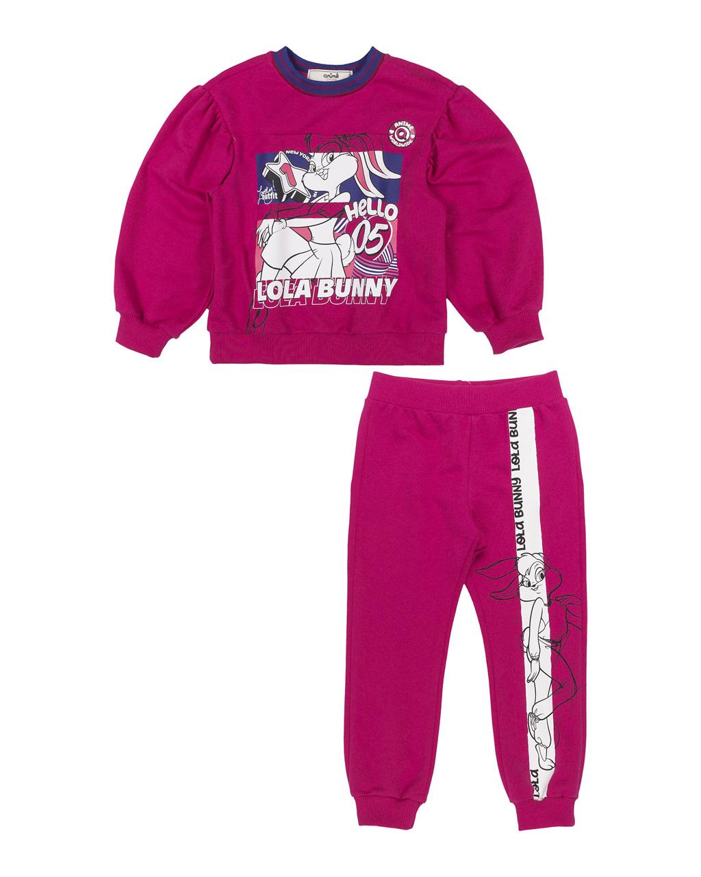 Conjunto Infantil Moletom Mangas Bufantes Pink Lola Animê