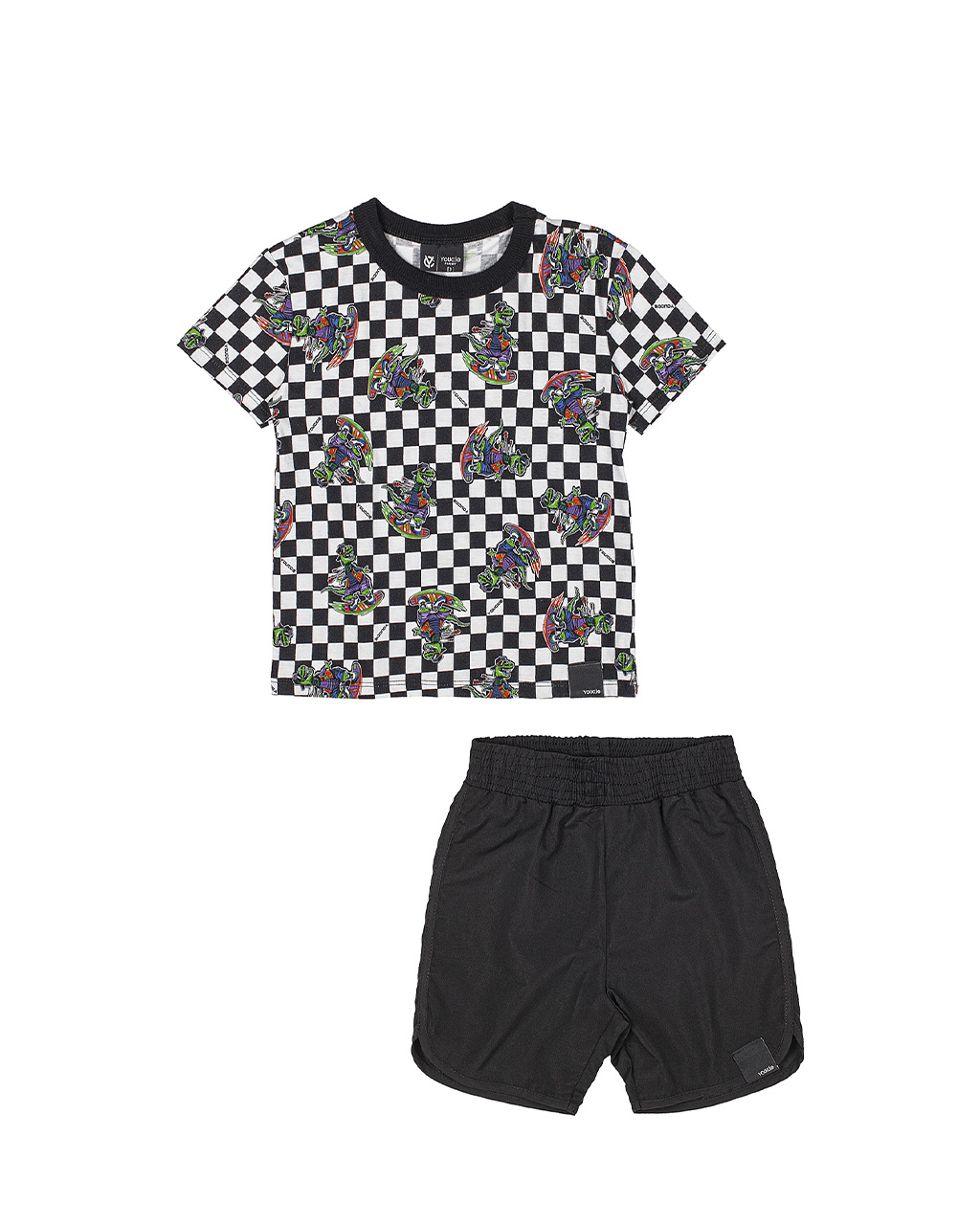 Conjunto Infantil Quadriculado Blusa e Shorts Preto Youccie