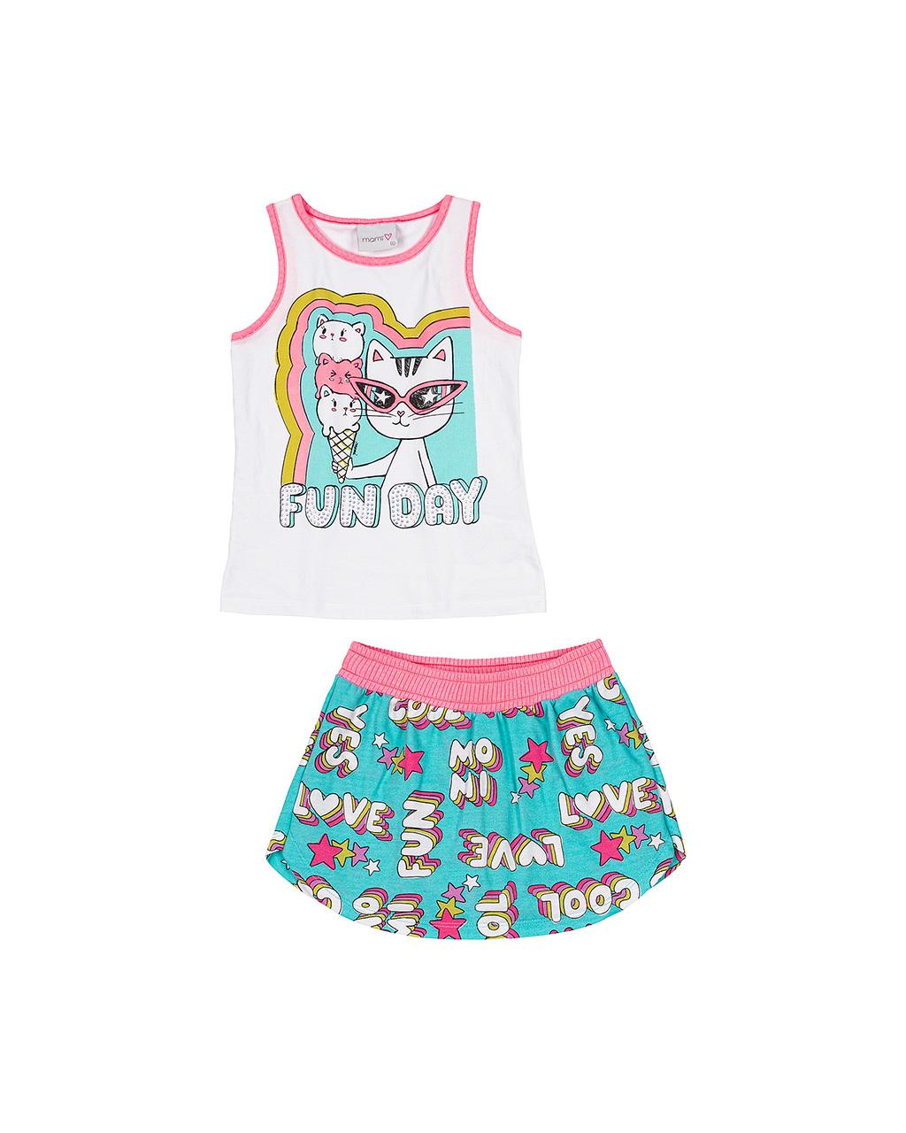 Conjunto Infantil Regata e Shorts Off White Momi