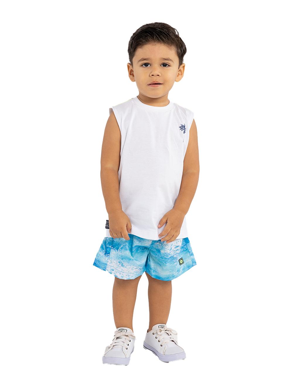 Conjunto Infantil Regata e Shorts Off White Um Mais Um