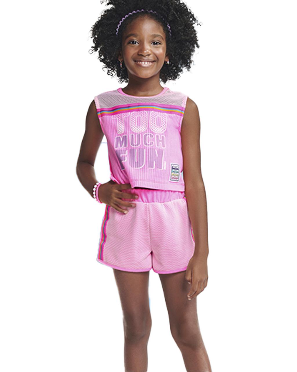 Conjunto Infantil Regata Too Much Fun e Shorts com Tela Rosa Momi