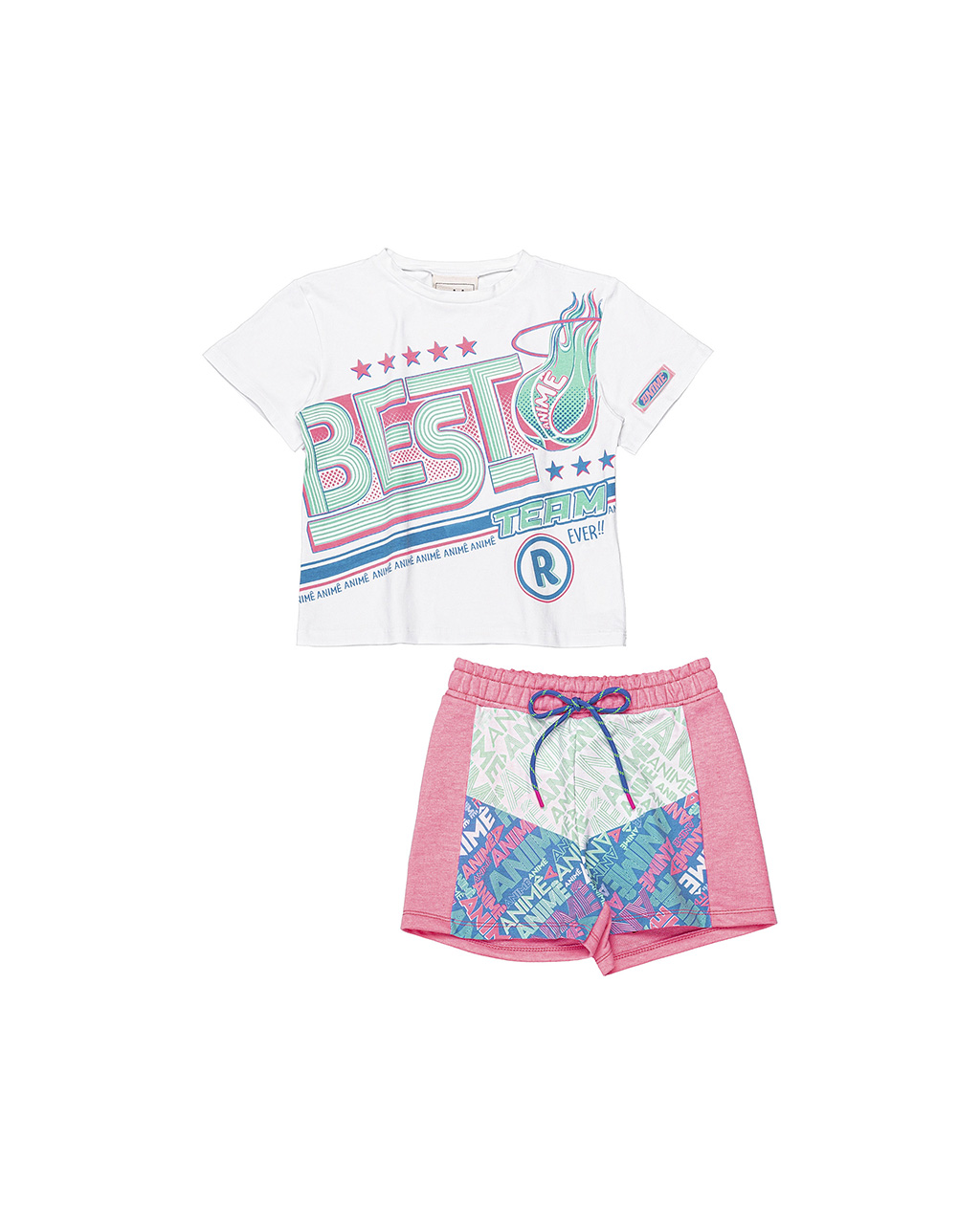Conjunto Infantil Shorts com Blusa Animê