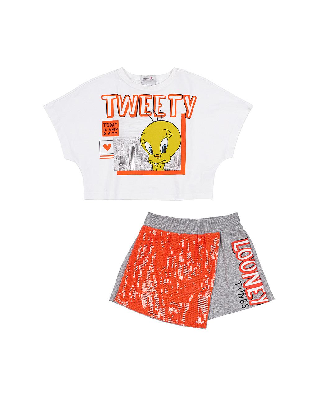 Conjunto Infantil Shorts com Lantejoula Off White Momi