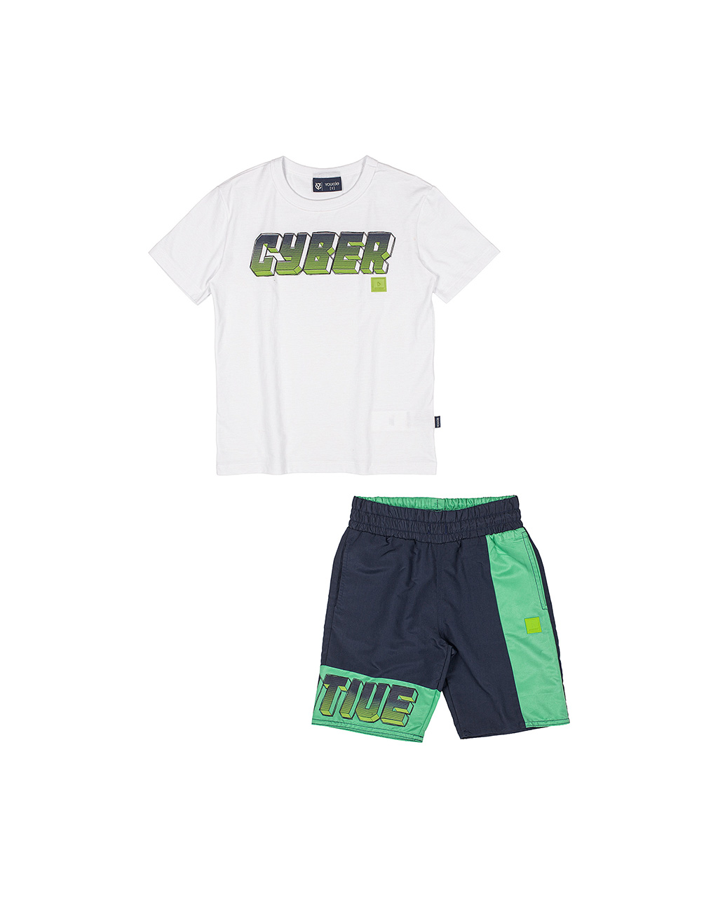 Conjunto Infantil T-Shirt e Bermuda Off White Youccie