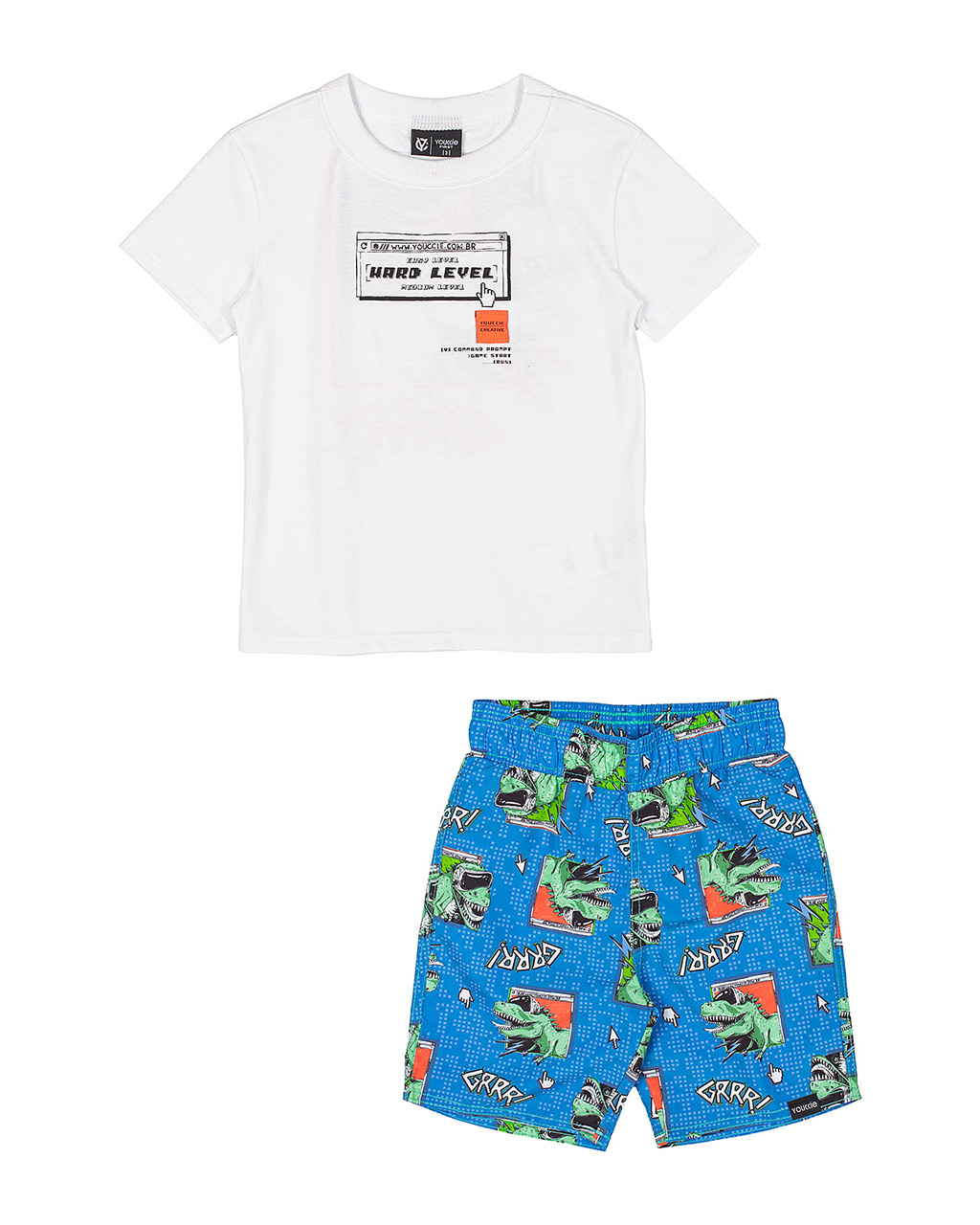 Conjunto Infantil T-Shirt e Shorts Dinossauro Youccie