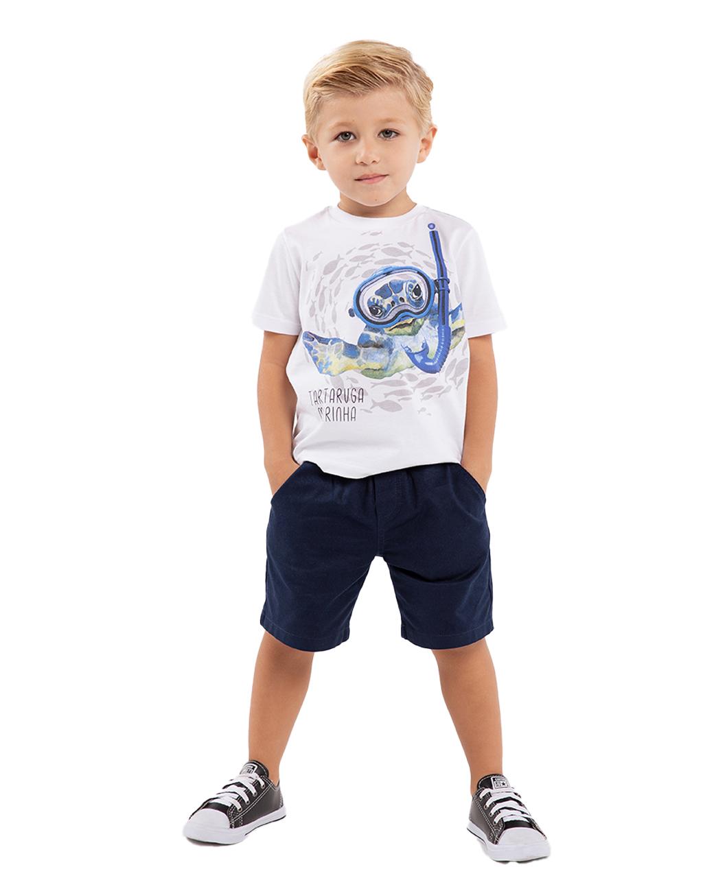 Conjunto infantil T-Shirt e Shorts Off White Um Mais Um