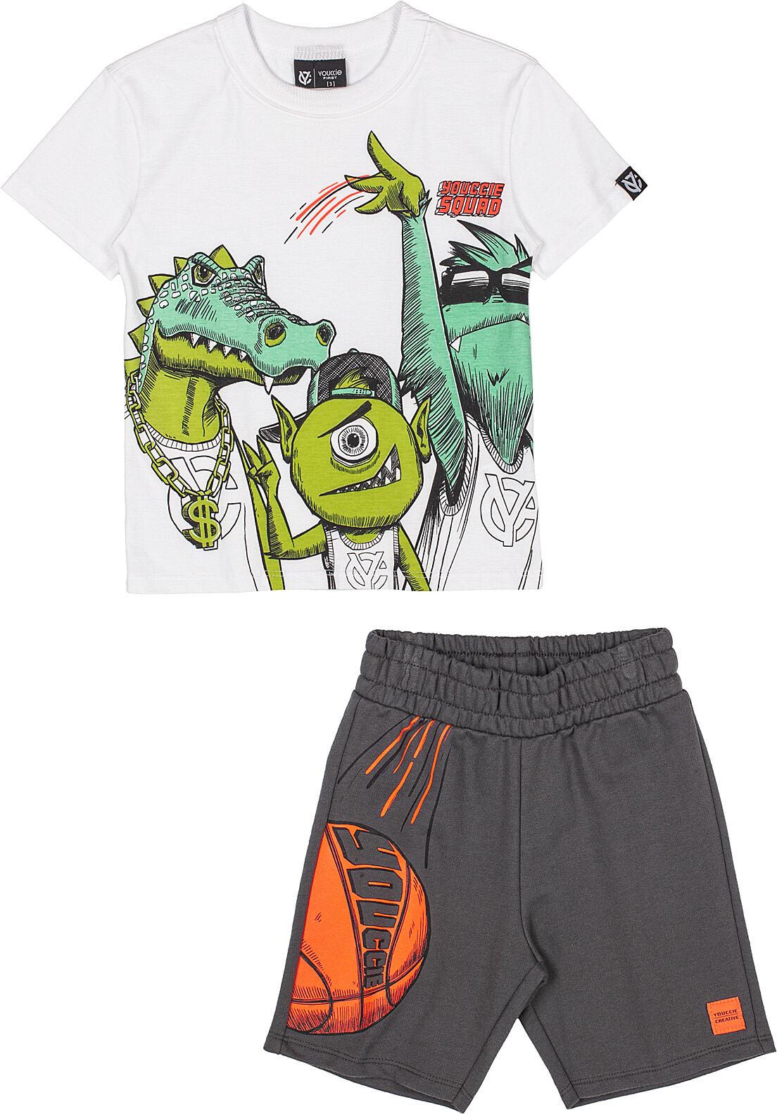 Conjunto Infantil T-Shirt Jacare e Shorts Off White Youccie