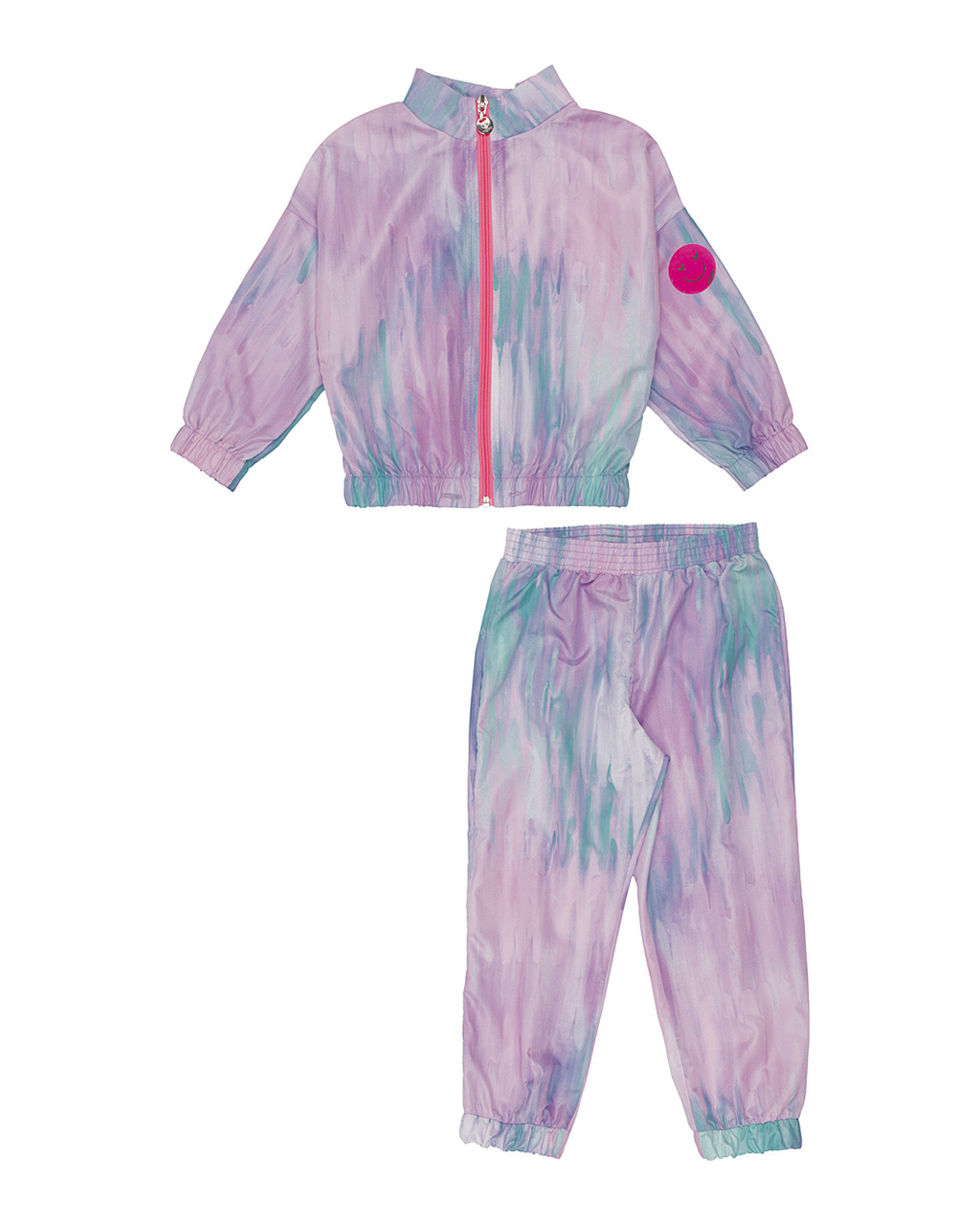 Conjunto Infantil Tie Dye Jaqueta Zíper Neon e Calça Corta Vento Momi