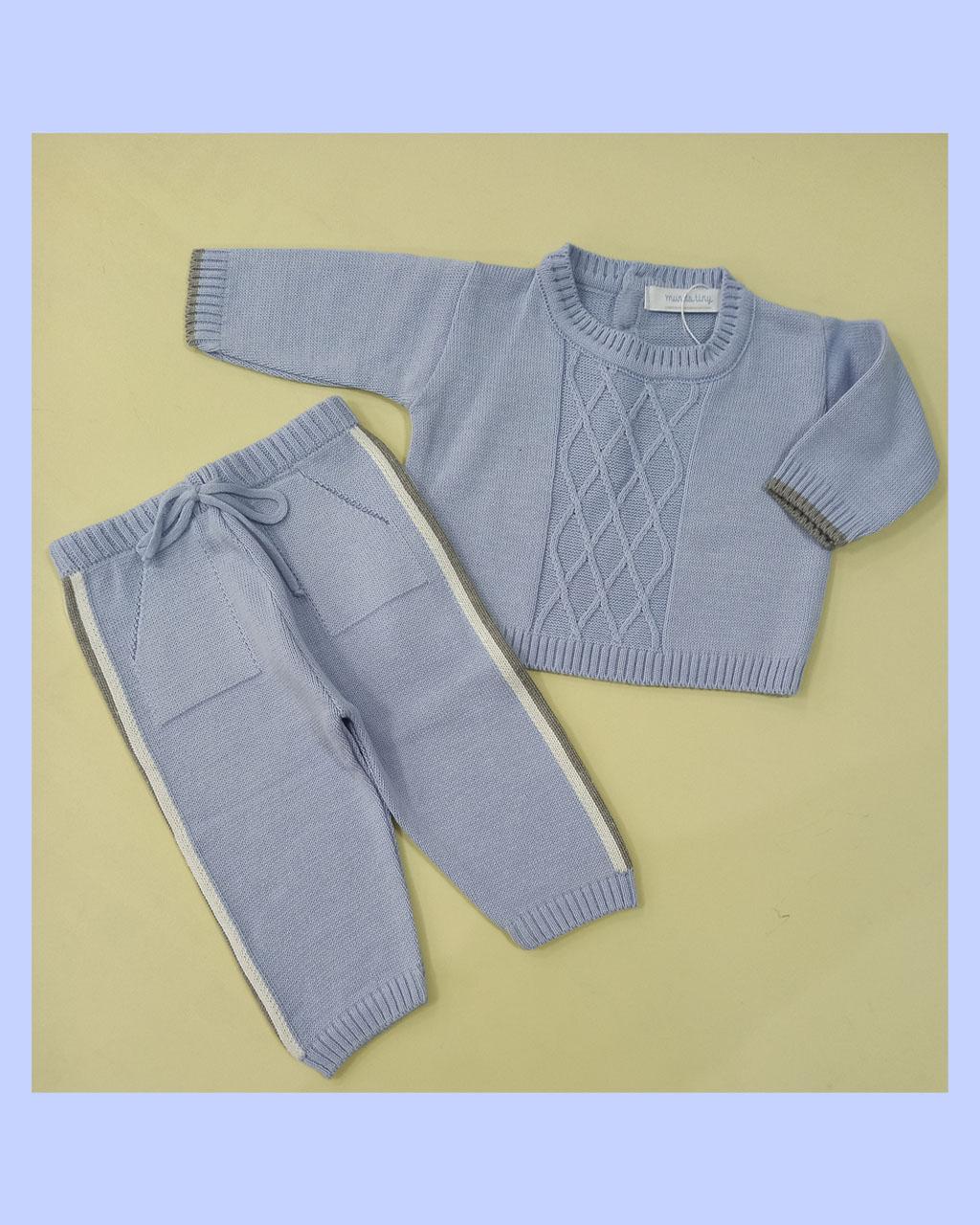 Conjunto Infantil Tricô Blusa e Calça Azul com Listras nas Laterais Mundo Faz de Conta
