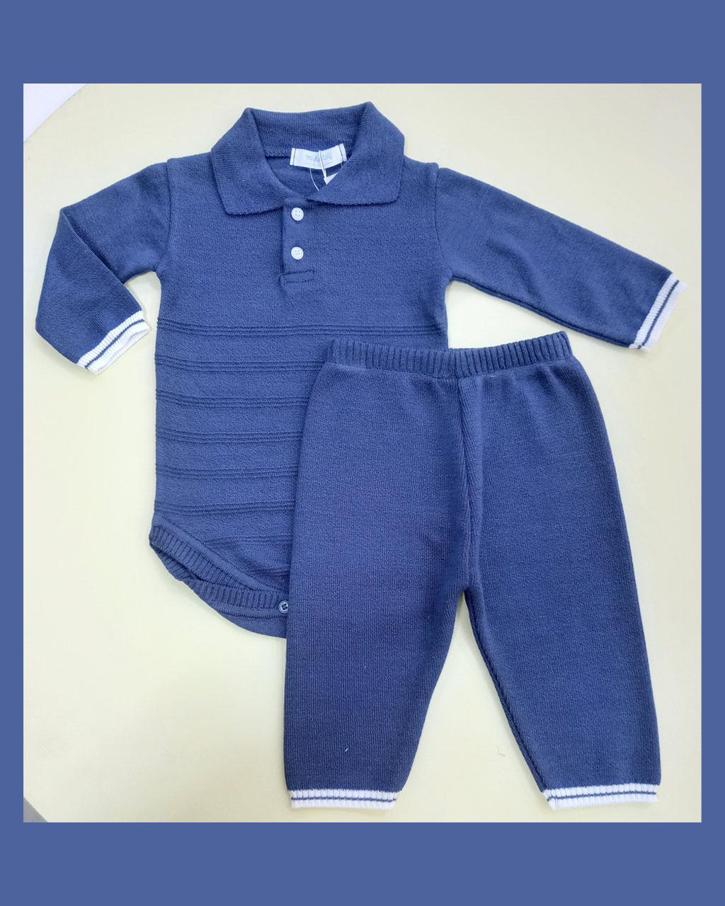 Conjunto Infantil Tricô Modal Body Polo e Calça Azul Mundo Faz de Conta