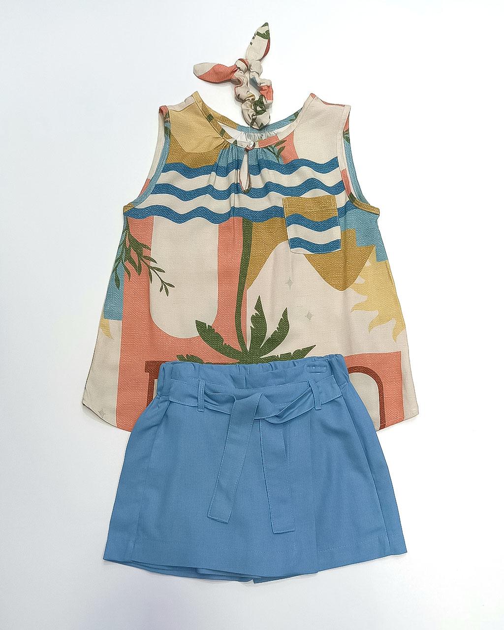 Conjunto Infantil Tropical Bata com Shorts Linho Azul Mundo Céu