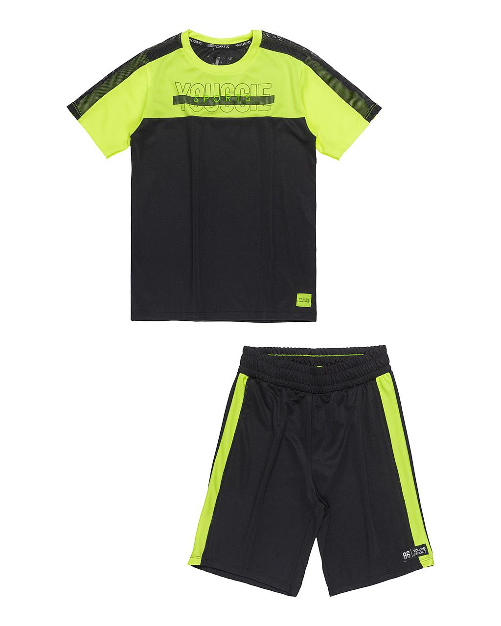Conjunto Masculino Esporte Preto com Neon Youccie
