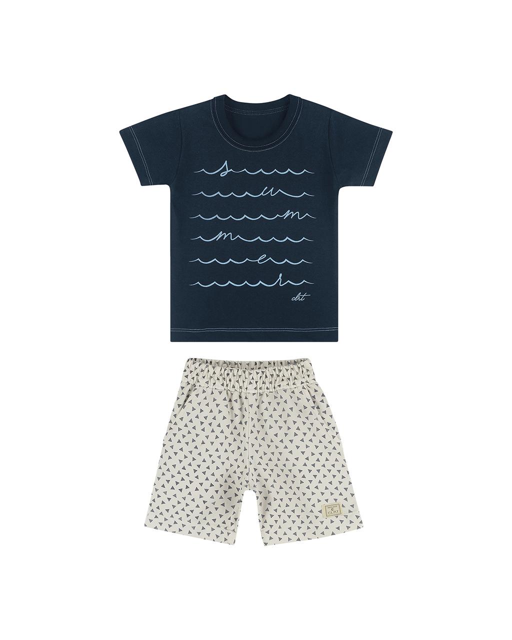 Conjunto Masculino Infantil Camiseta E Bermuda com Elástico Coloritá