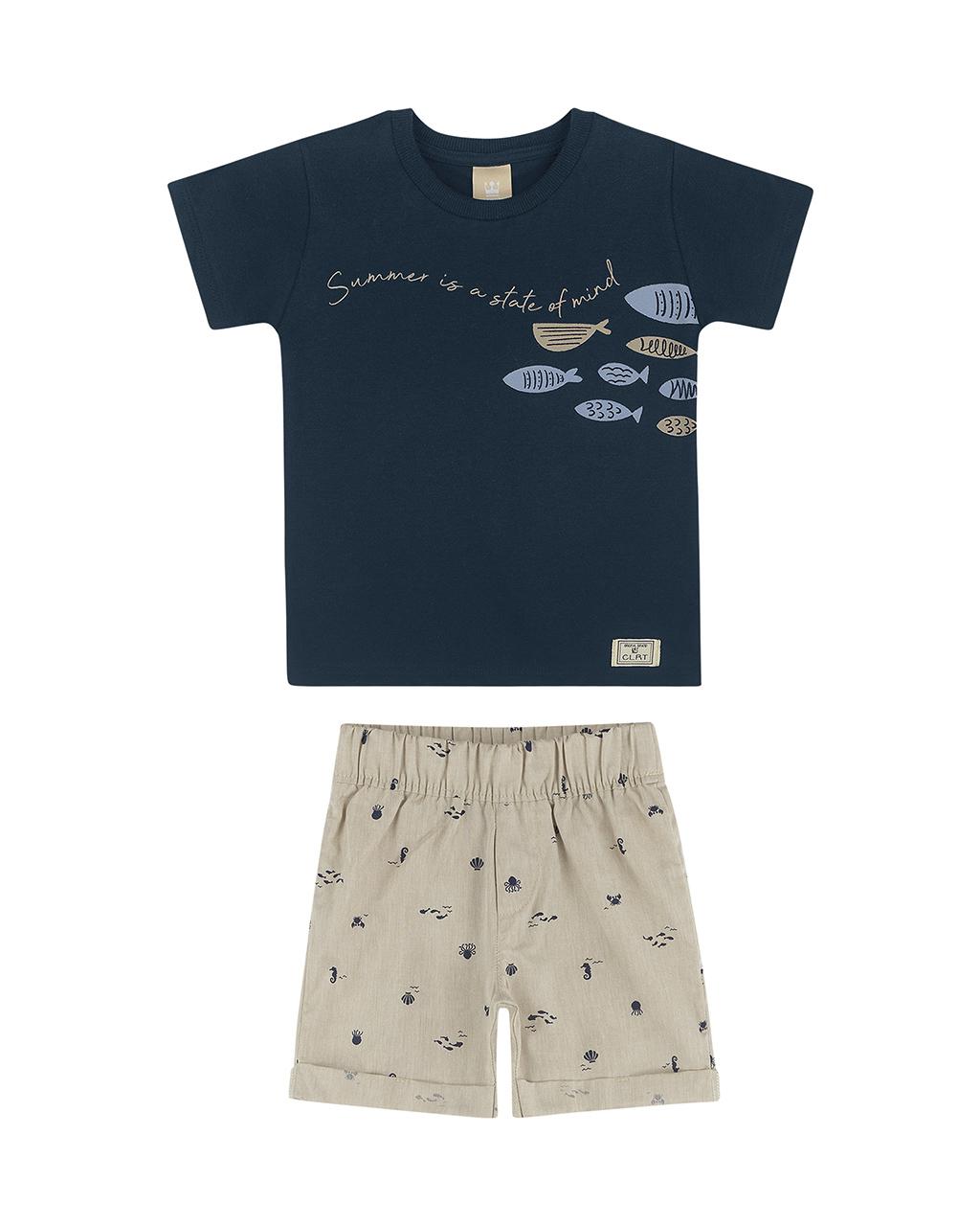 Conjunto Masculino Infantil Camiseta Shorts Fundo do Mar Colorittá