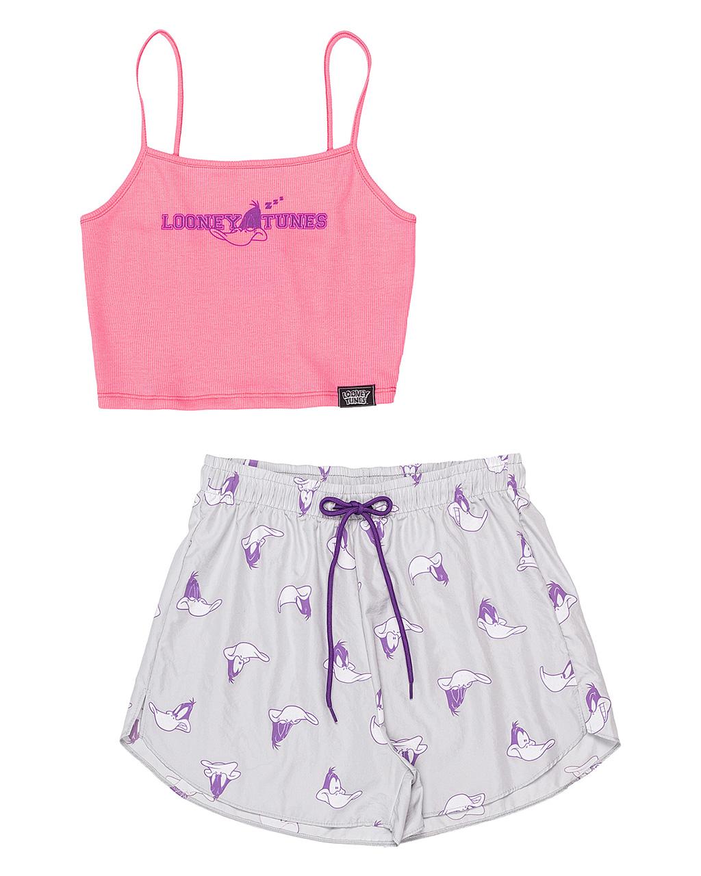 Conjunto Pijama Teen Top e Shorts Rosa Authoria