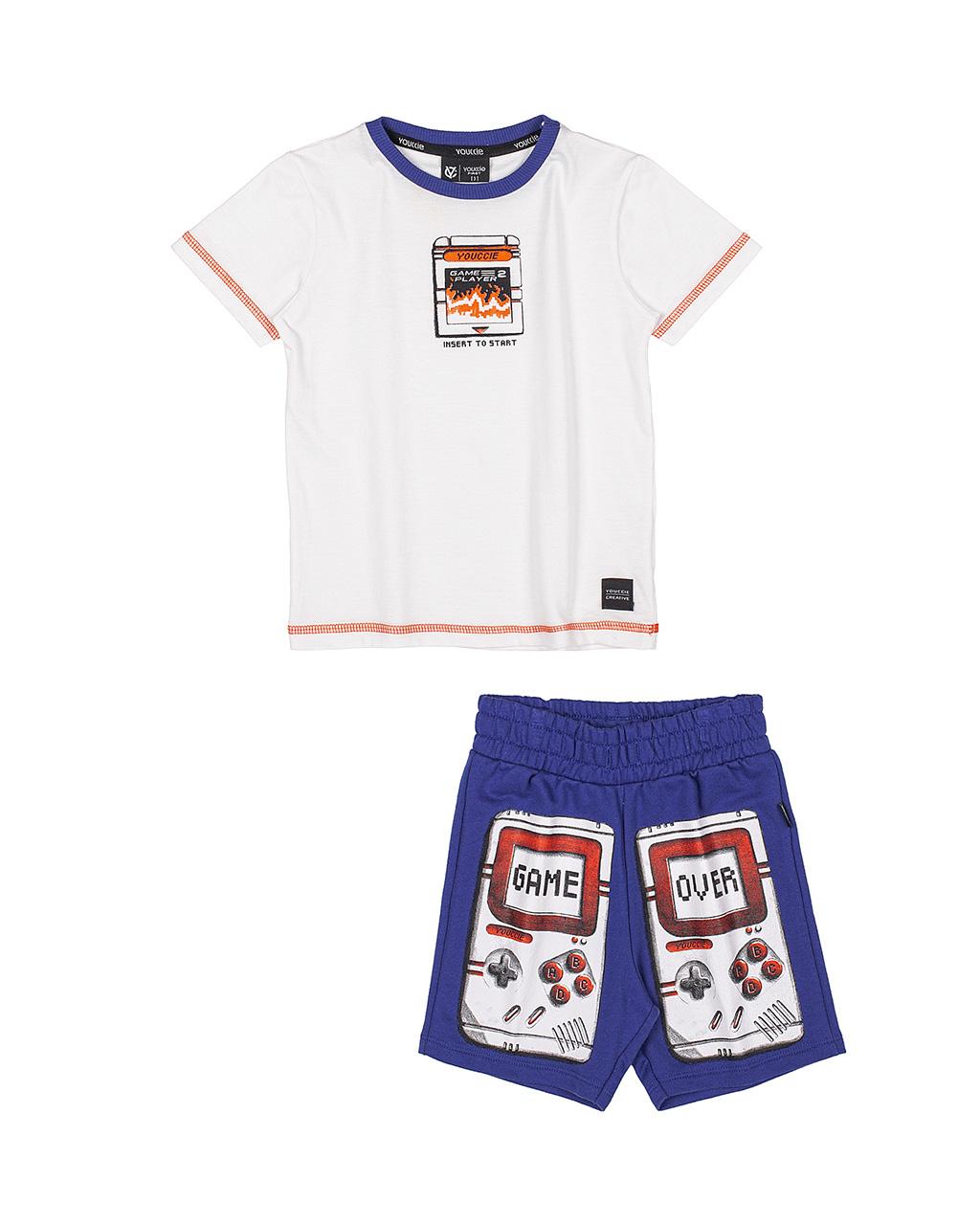 Conjunto T-Shirt Infantil e Bermuda Off White Youccie