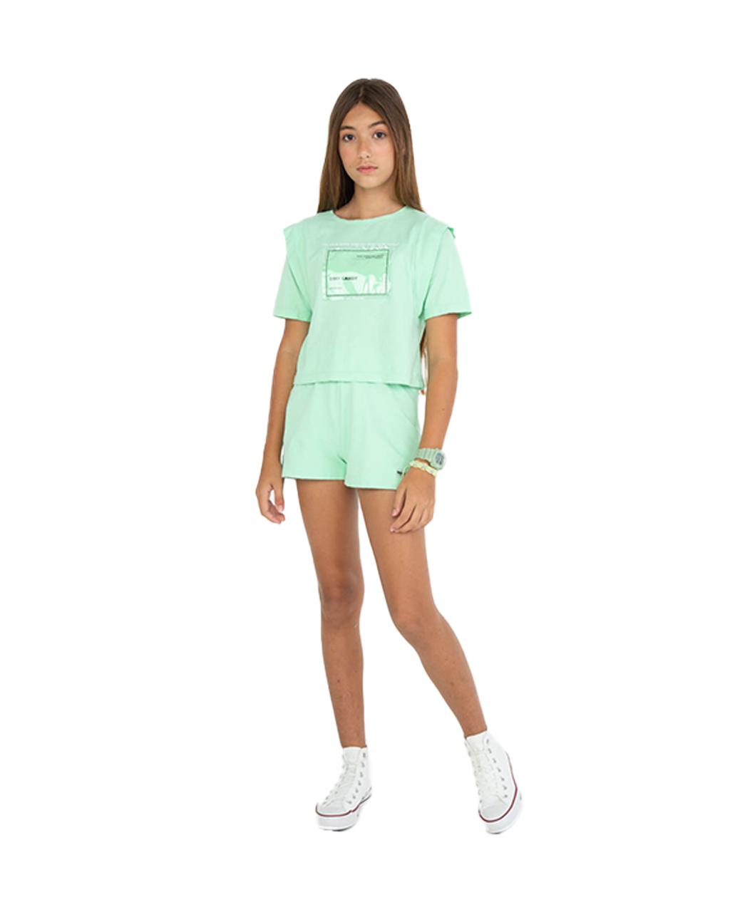 Conjunto Teen de T-shirt de Malha e Shorts de Moletom Verde Dimy Candy