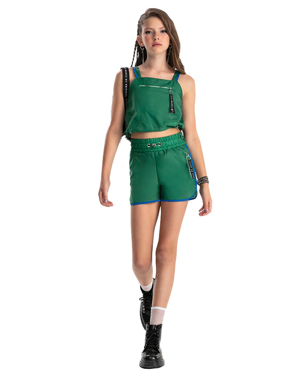 Conjunto Teen Detalhe Ziper Verde Bobbylulu