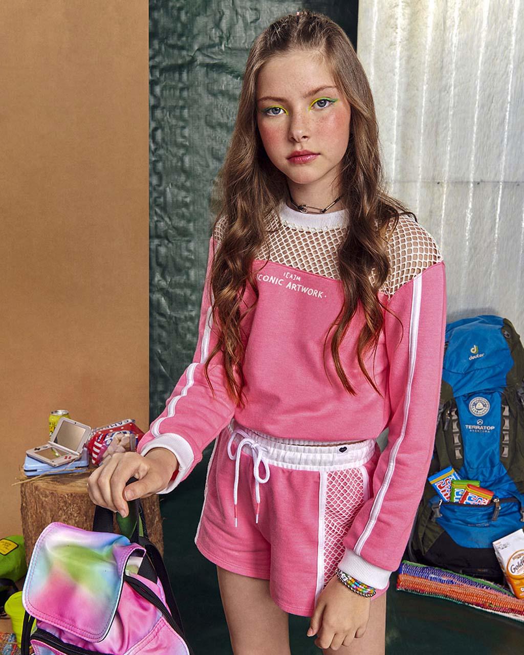Conjunto Teen Moletom Detalhe Tela Branco com Shorts Rosa Neon I Am