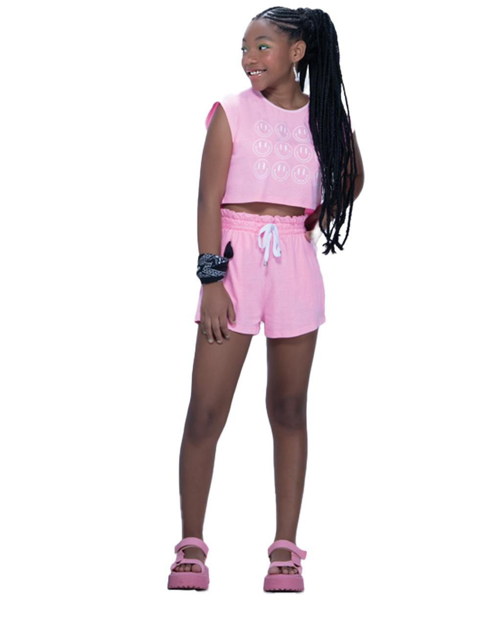 Conjunto Teen Rosa Shorts e Cropped Fruto
