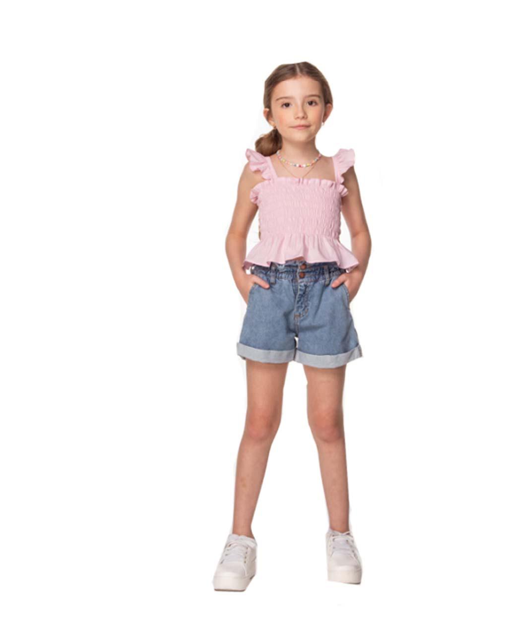 Cropped Infantil Lastex com Colar Rosa Luluzinha