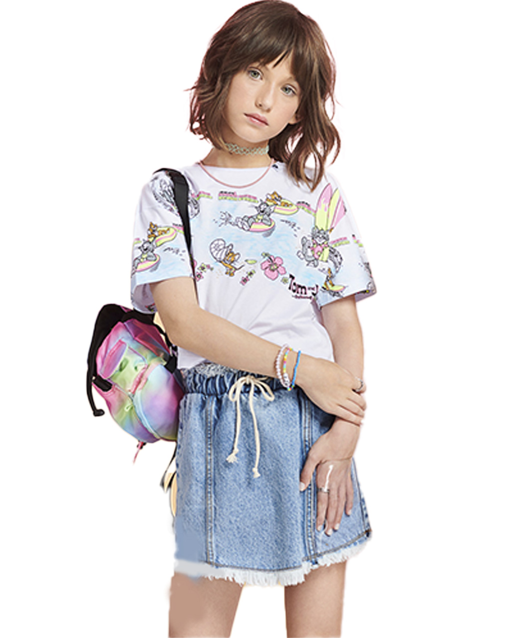 Cropped Teen Tom And Jerry Off White I Am