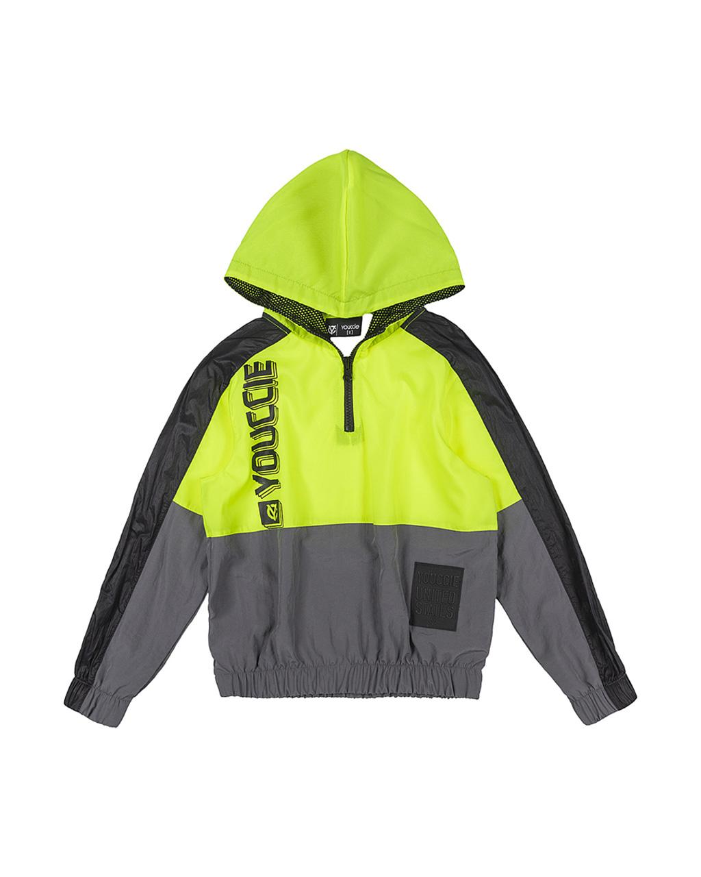 Jaqueta Infantil Corta Vento Com Capuz Amarelo Neon Youccie
