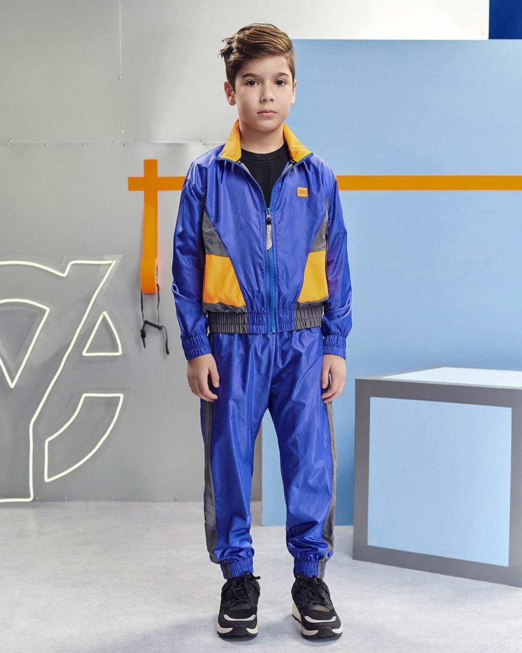 Jaqueta Infantil Corta Vento Esporte Azul Detalhe Neon Youccie