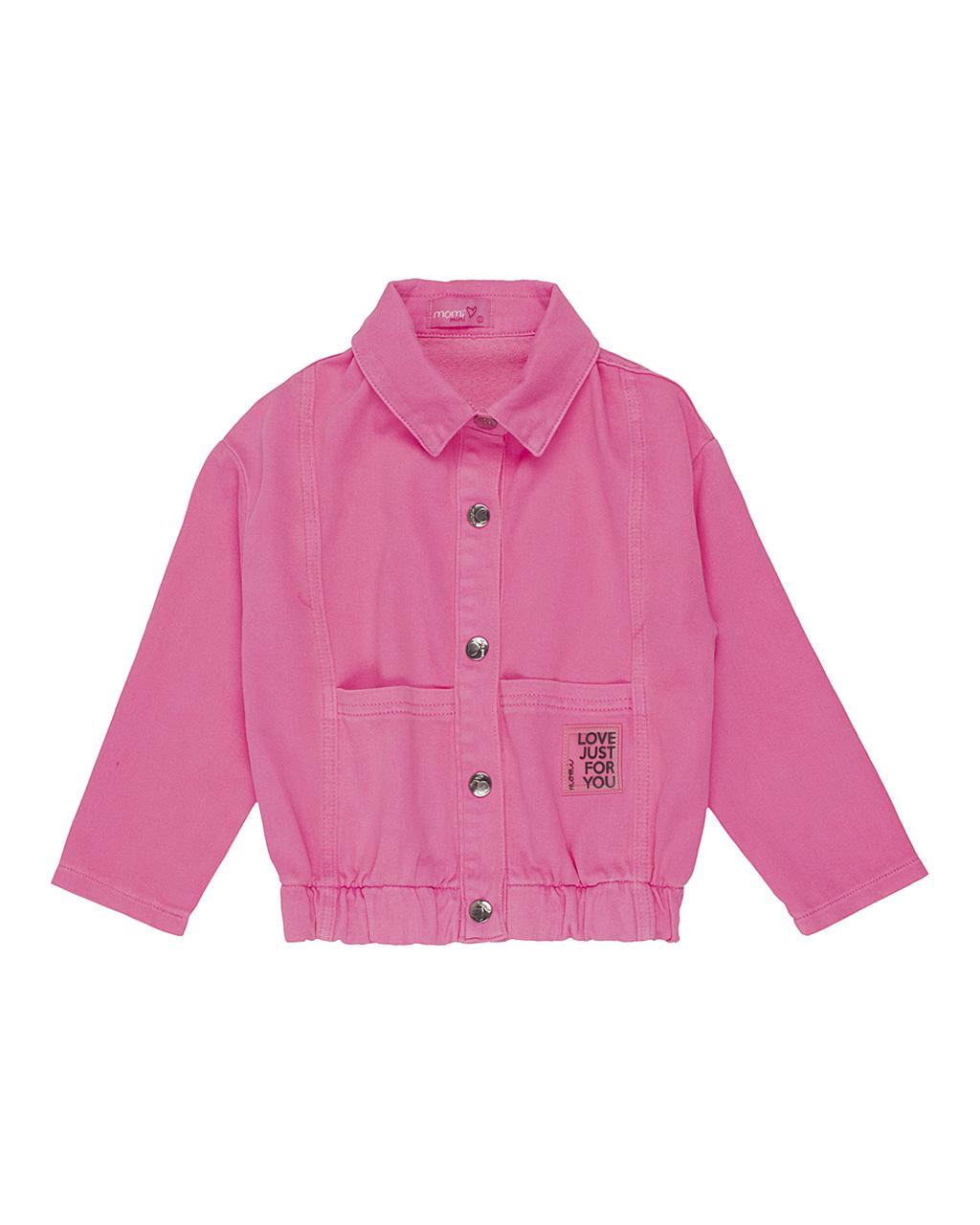 Jaqueta Infantil Cós Elastico com Botões  Rosa Neon Momi