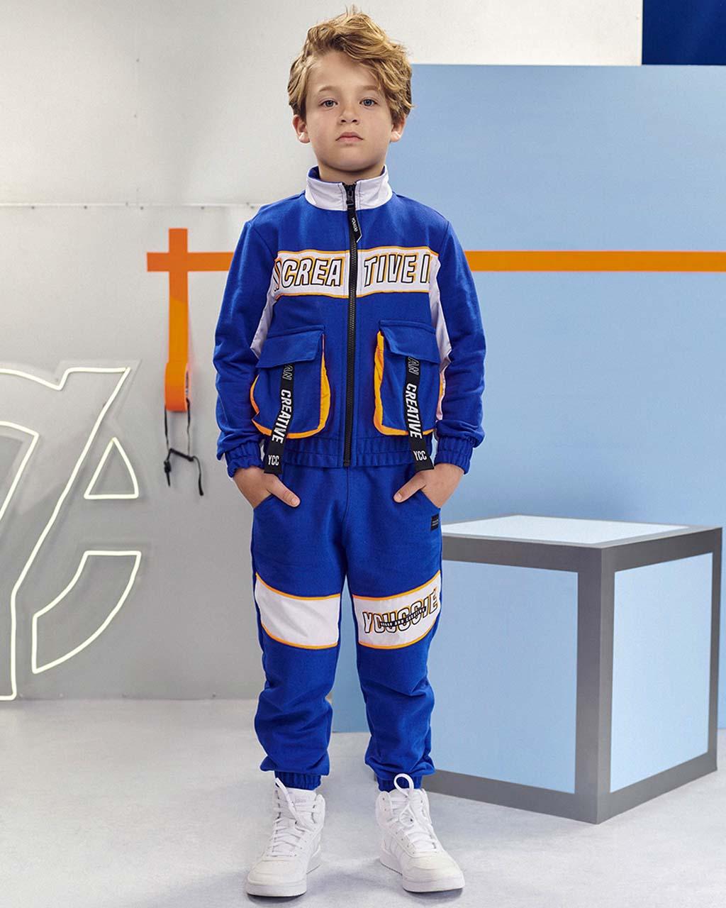 Jaqueta Infantil Moletom com Bolsos Azul Royal Youccie
