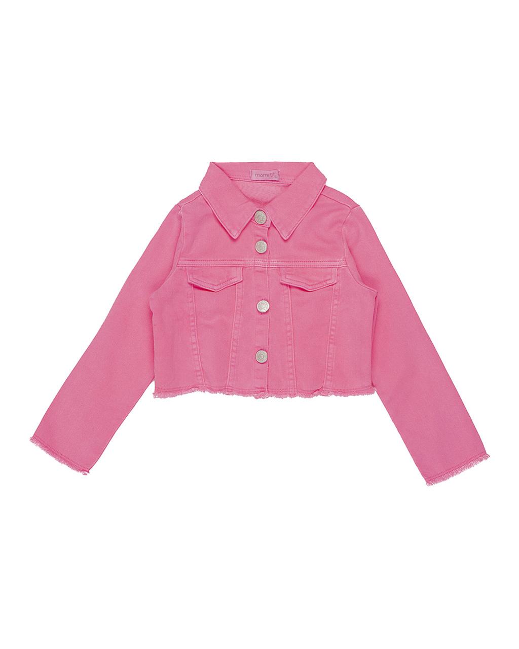 Jaqueta Infantil Sarja Rosa Neon Momi