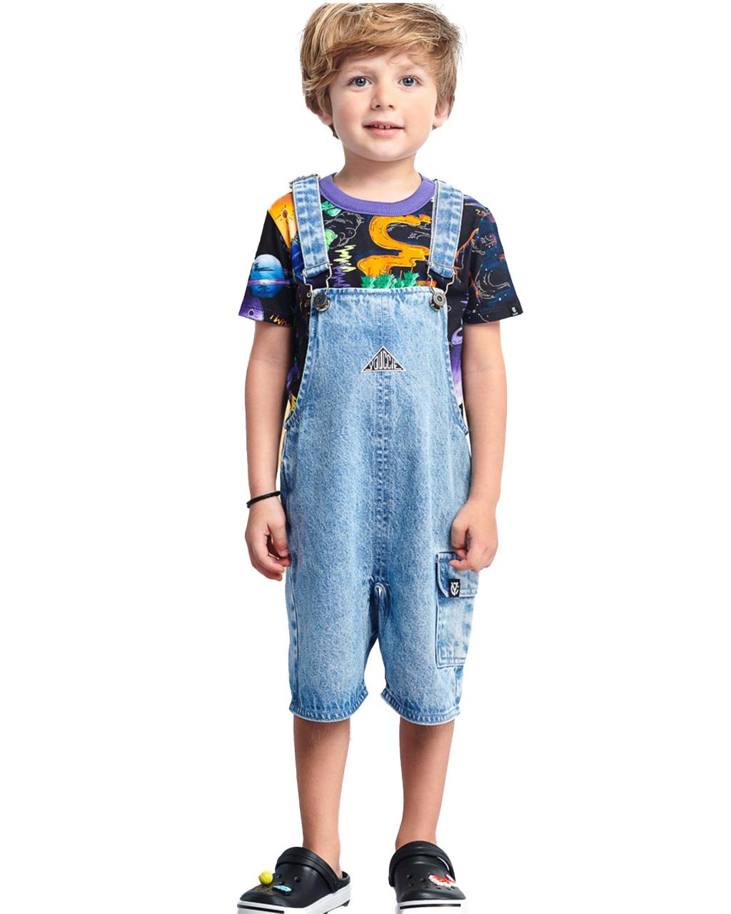 Jardineira Infantil Jeans Youccie