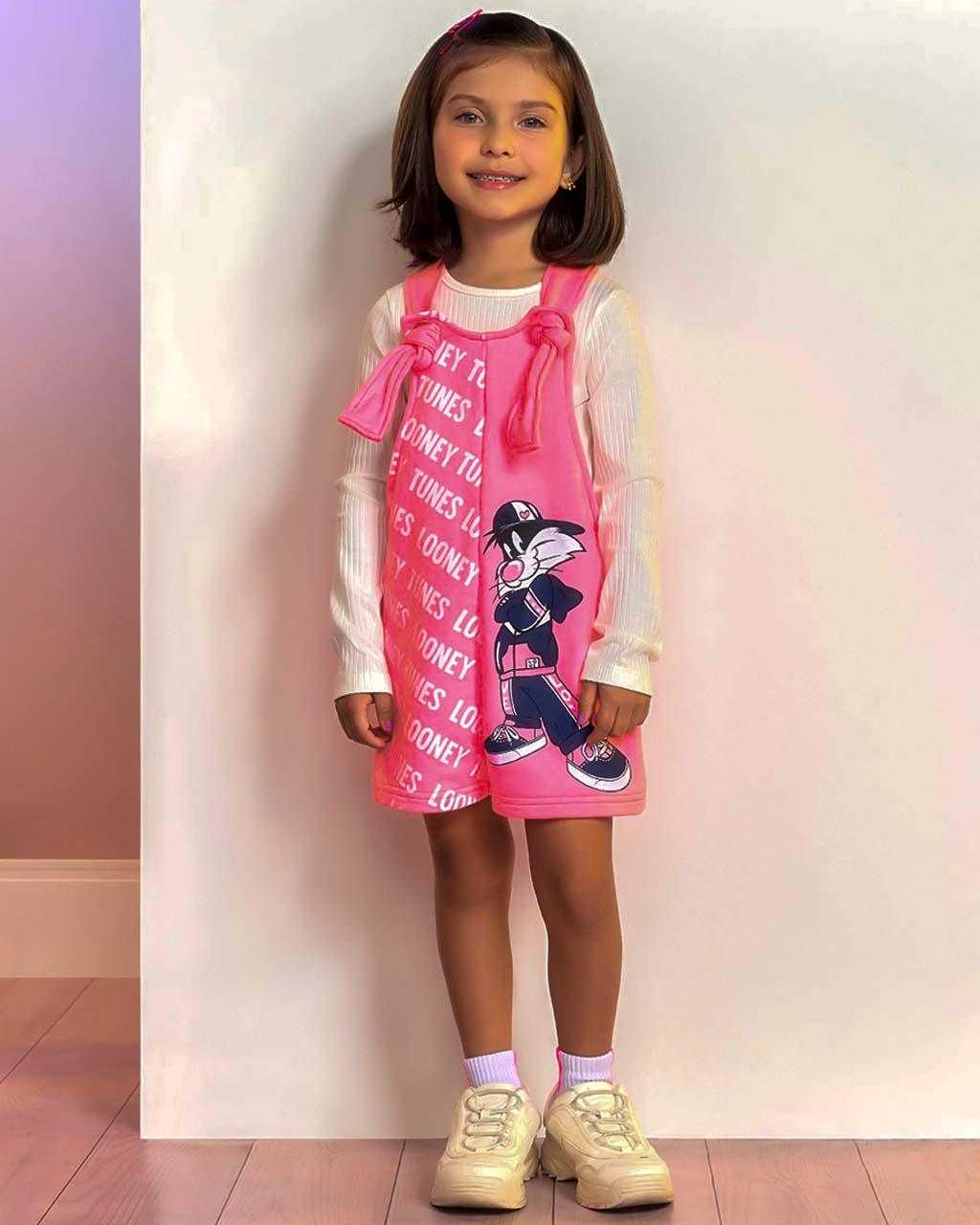 Jardineira Infantil Looney Tunes Rosa Neon Momi