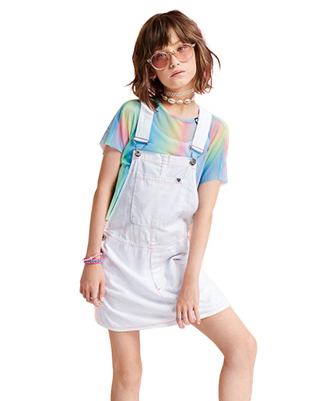 Jardineira Teen Off White Costura Neons I Am