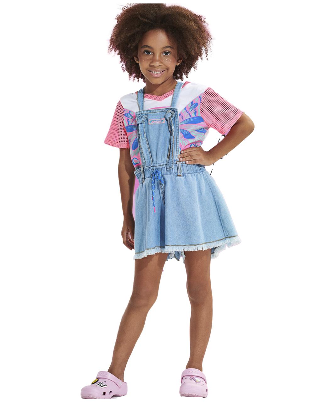 Jardiniera Infantil Jeans de Alças Animê