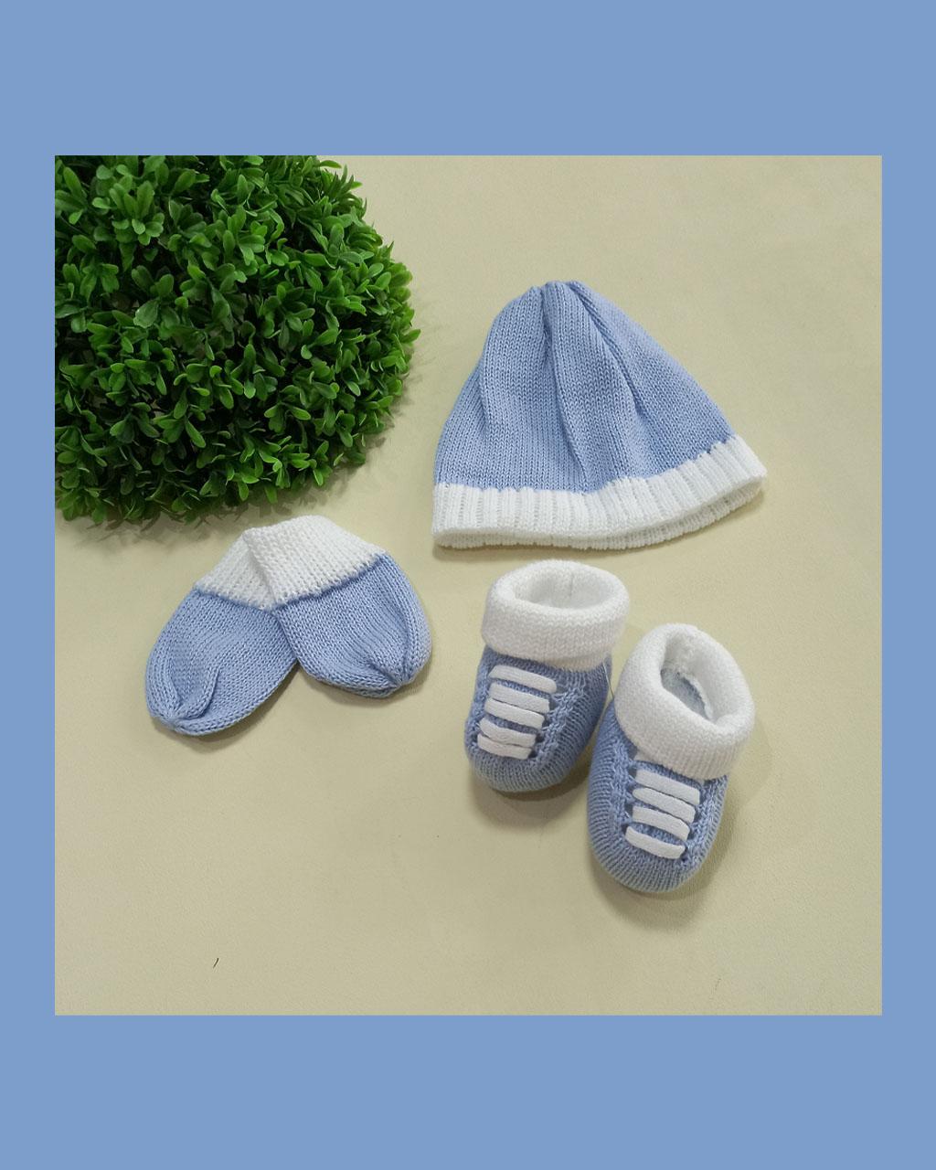 Kit Infantil Luva Touca com Sapato Tricô Azul com Off Mundo Faz de Conta