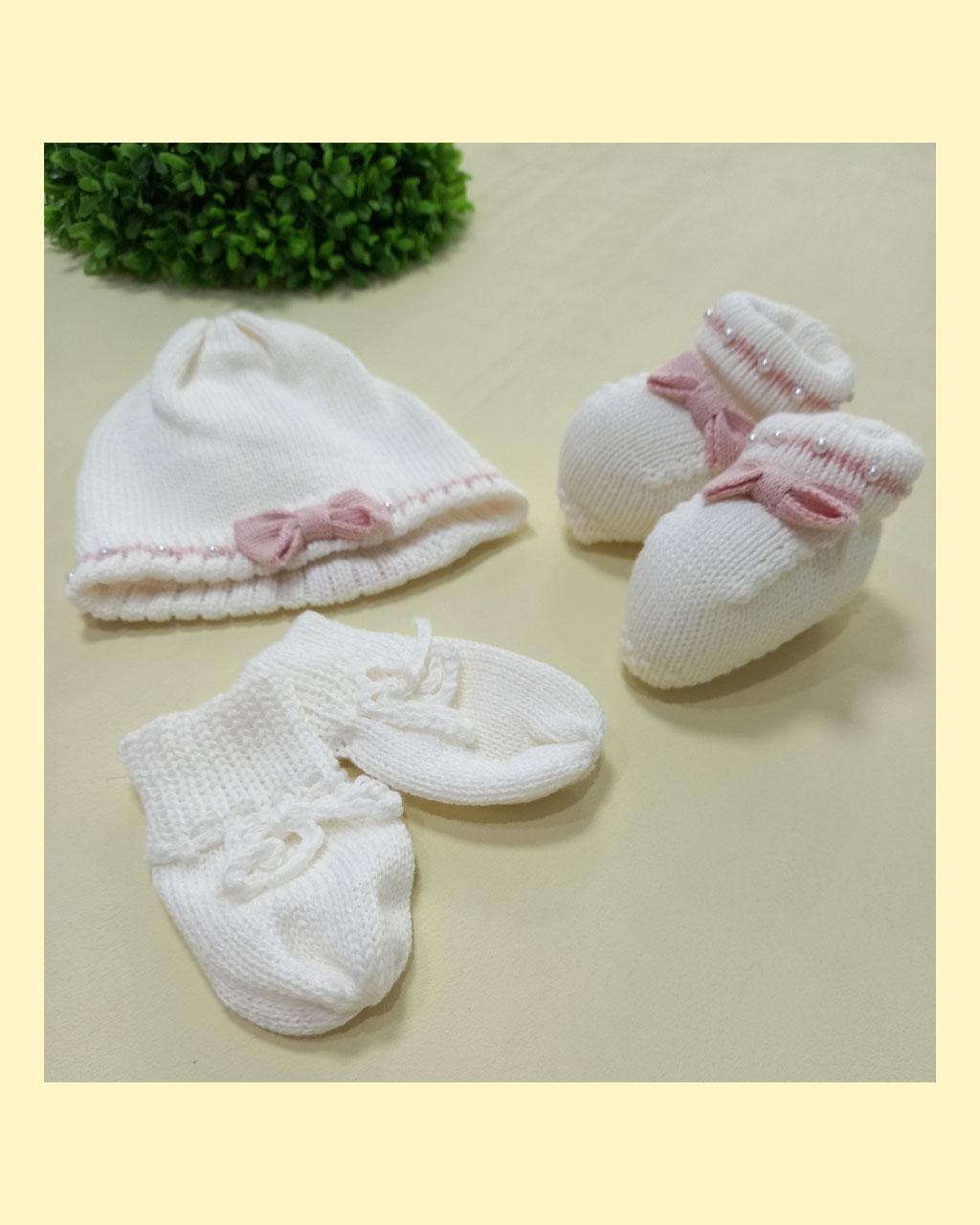 Kit Infantil Luva Touca com Sapato Tricô Off White com Lacinho Rosé Mundo Faz de Conta