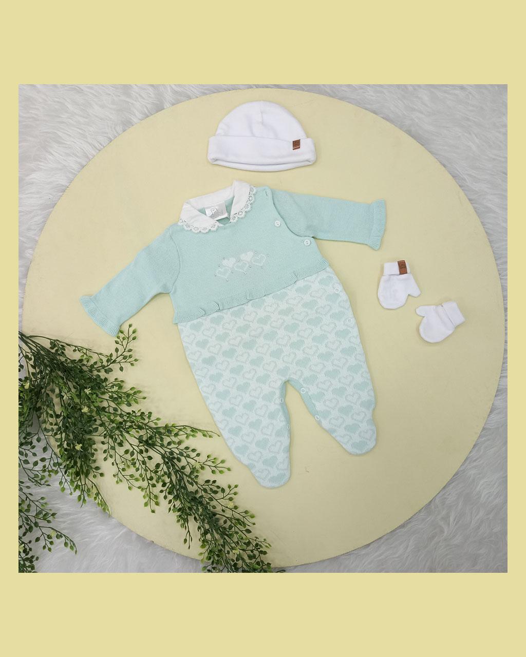 Macacão Infantil Feminino Tricô Corações Verde Bebê Noruega