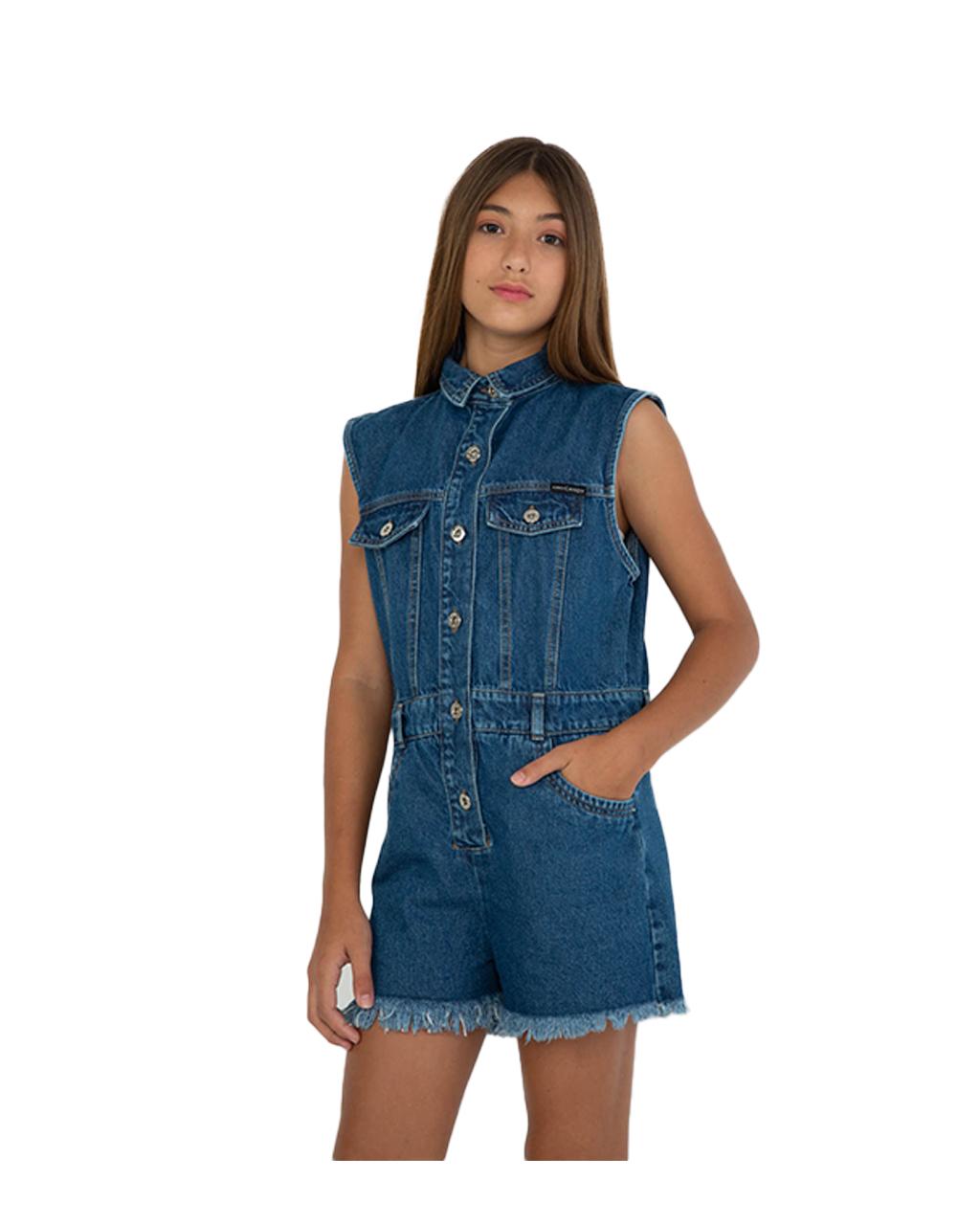 Macacão Teen Curto Jeans Dimy Candy