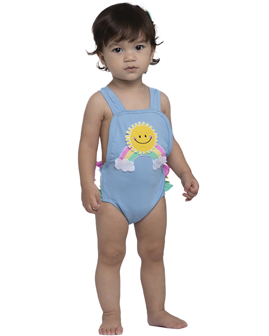 Maiô Bebê Sol com Babados Azul Siri