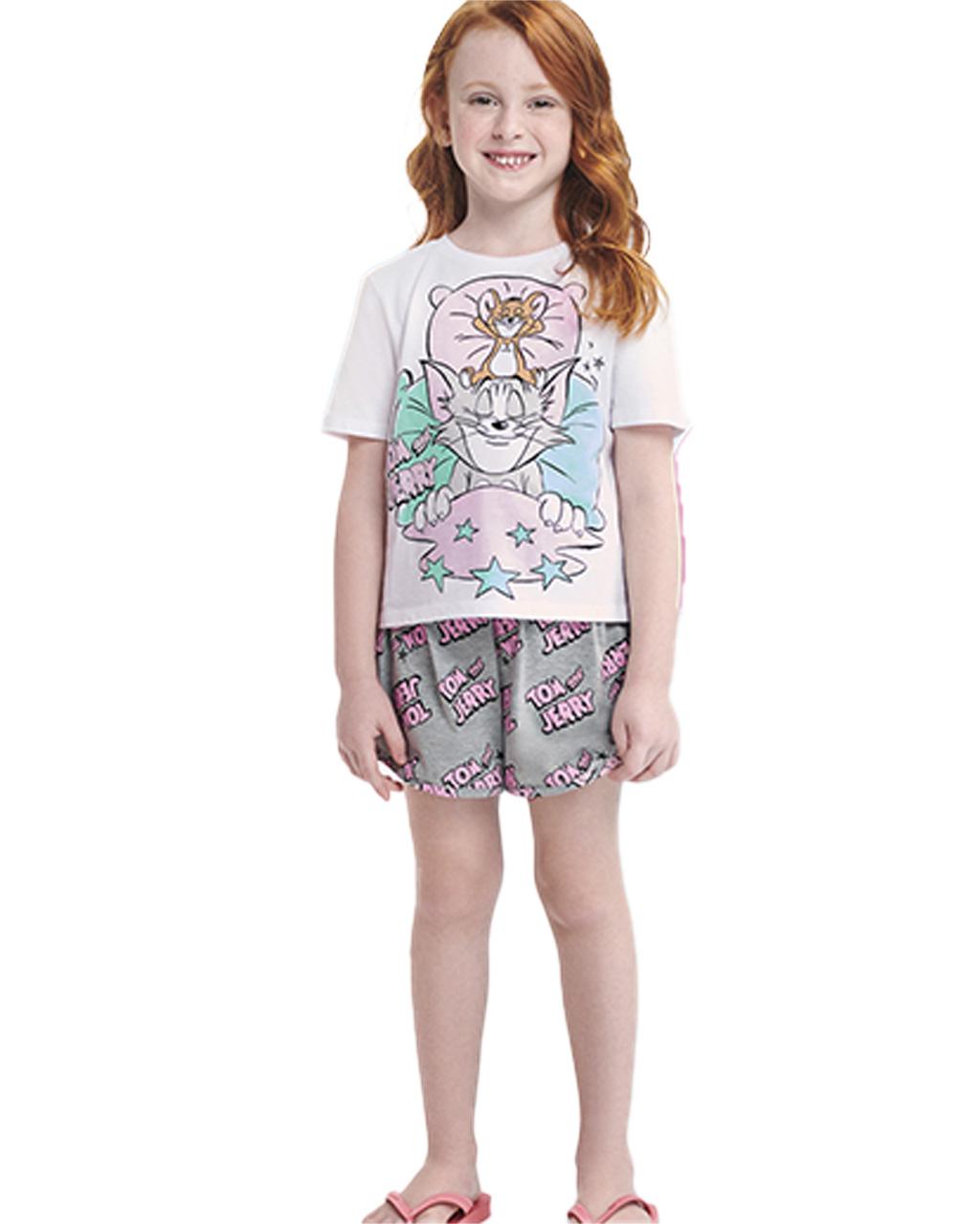 Pijama Infantil Blusa e Shorts Tom And Jerry Momi