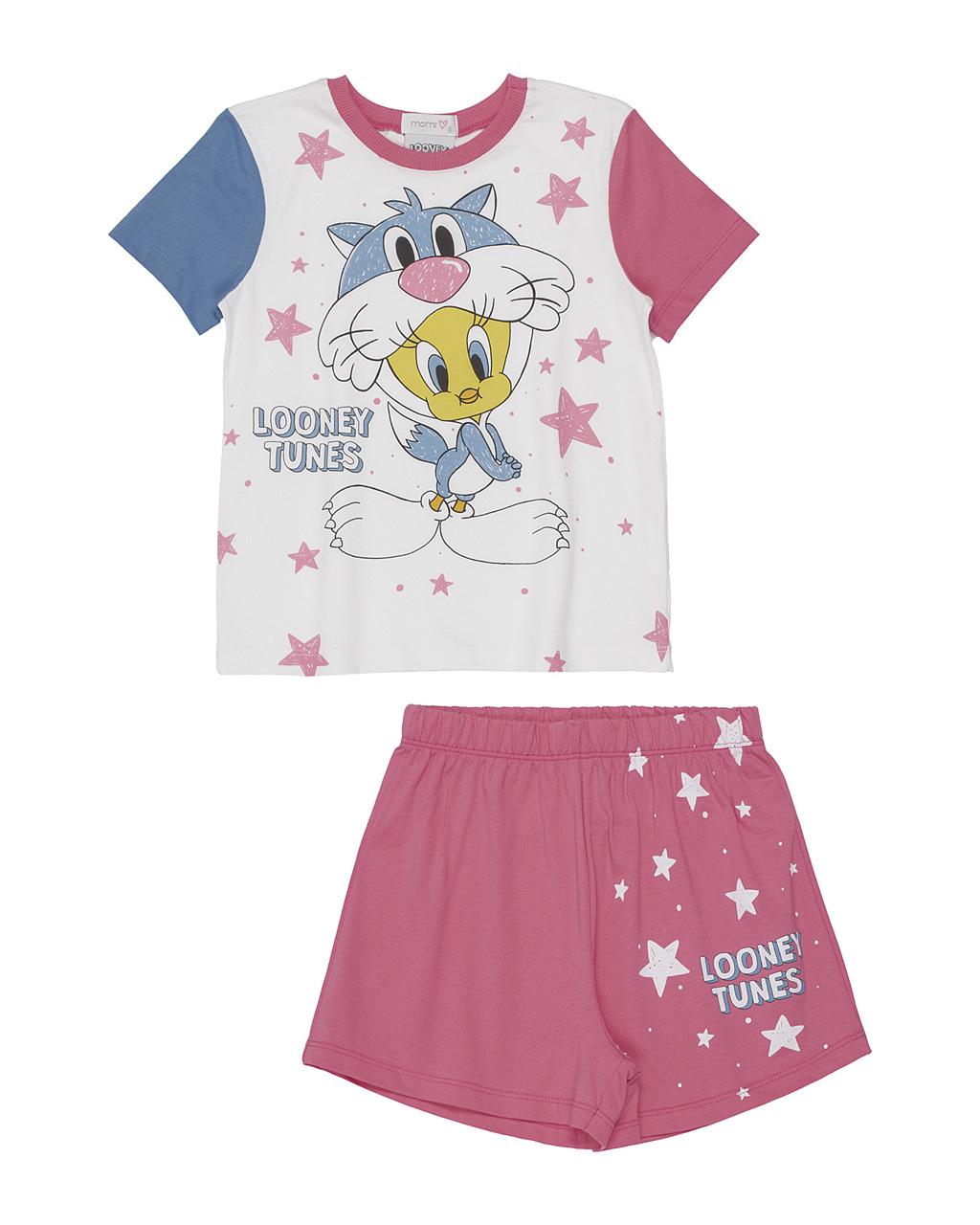 Pijama Infantil Manga Curta Looney Tunes Noite Estrelada Momi