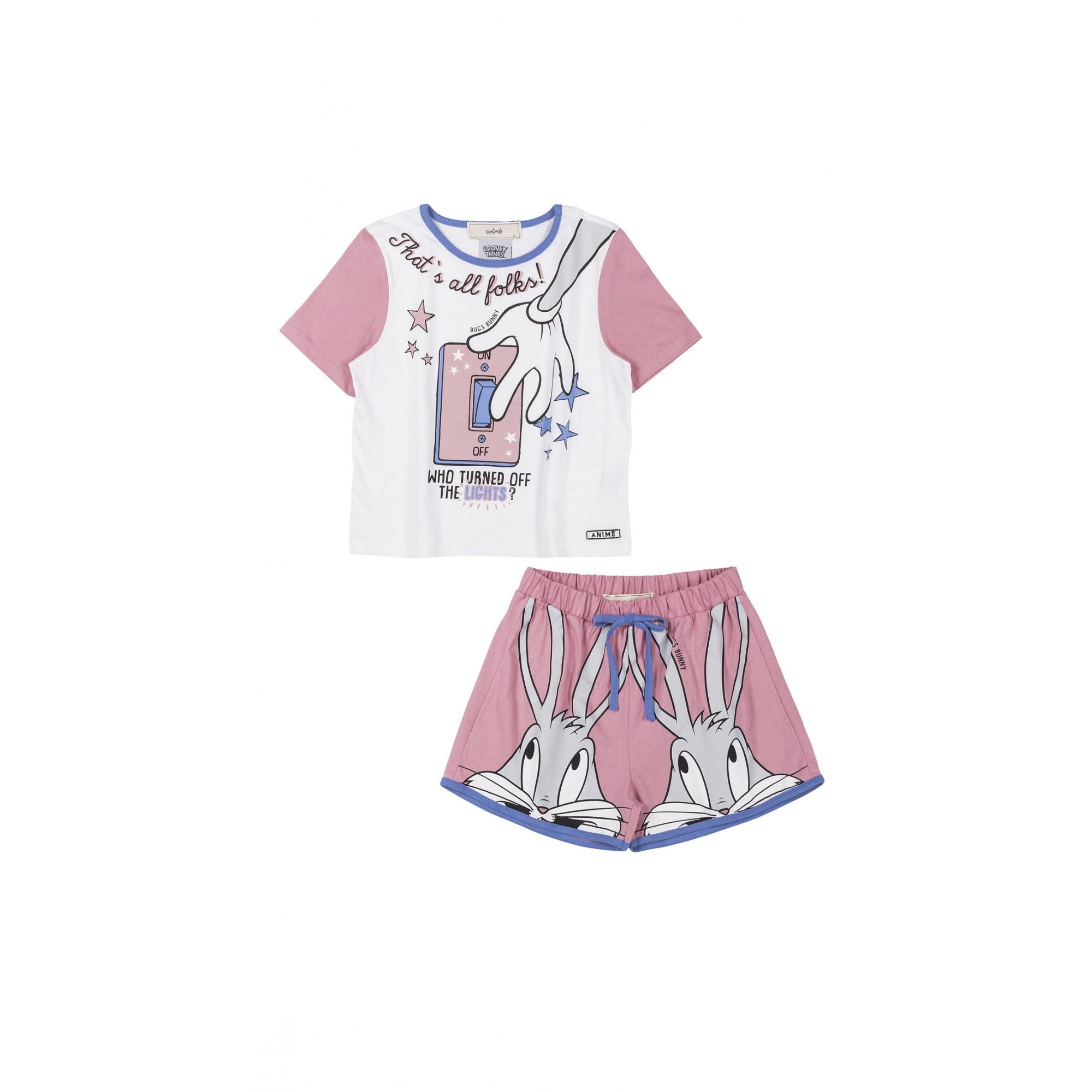 Pijama Infantil Manga Curta Pernalonga Rosa Animê