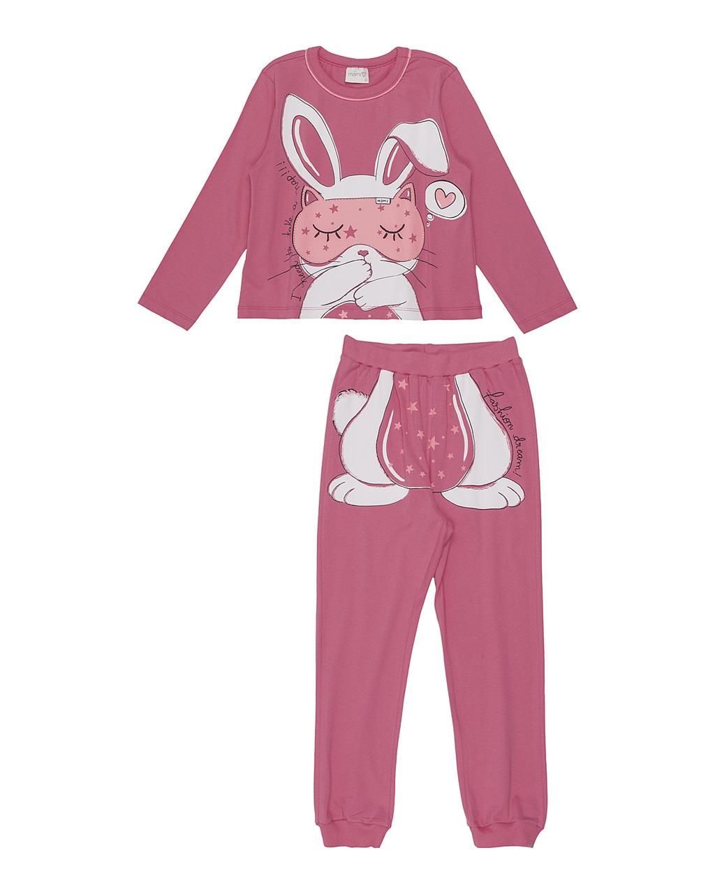 Pijama Infantil  Manga Longa Coelhinho Rosa Momi