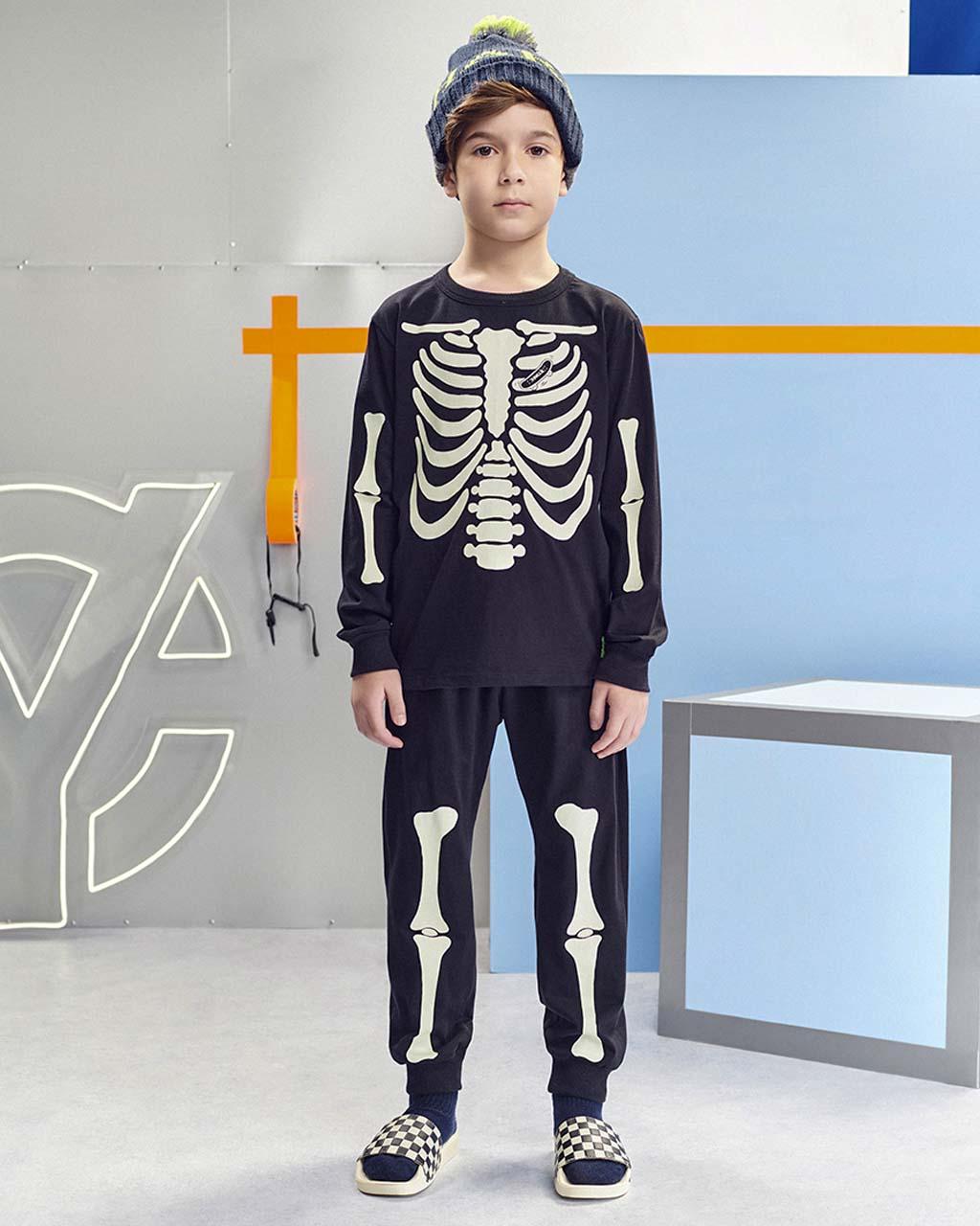 Pijama Infantil Manga Longa Esqueleto Preto Youccie