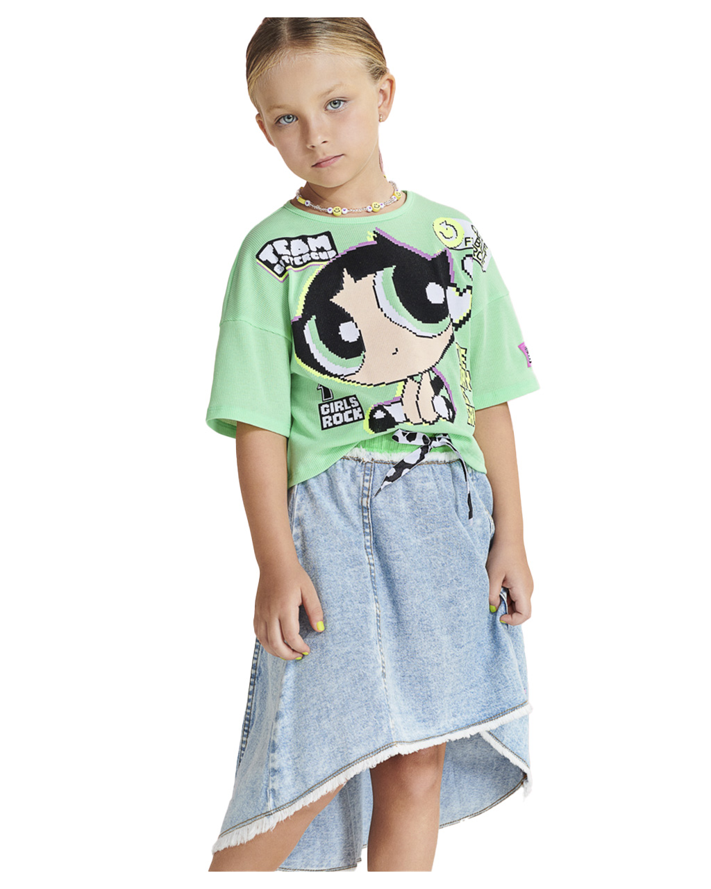 Saia Infantil Evasê Jeans Animê