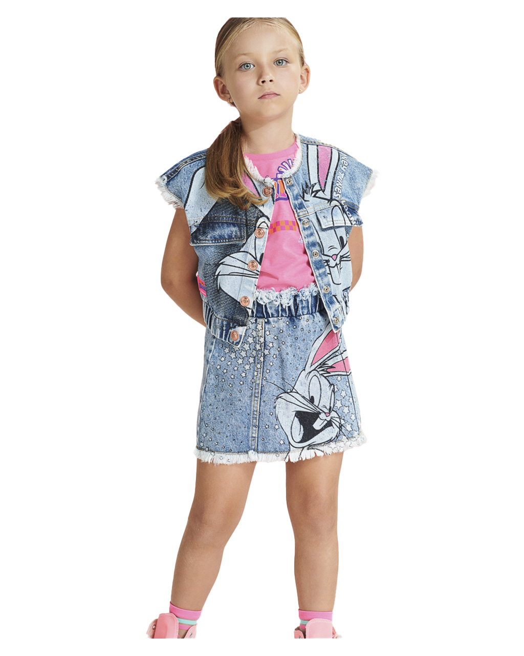 Saia Infantil Pernalonga Jeans Animê