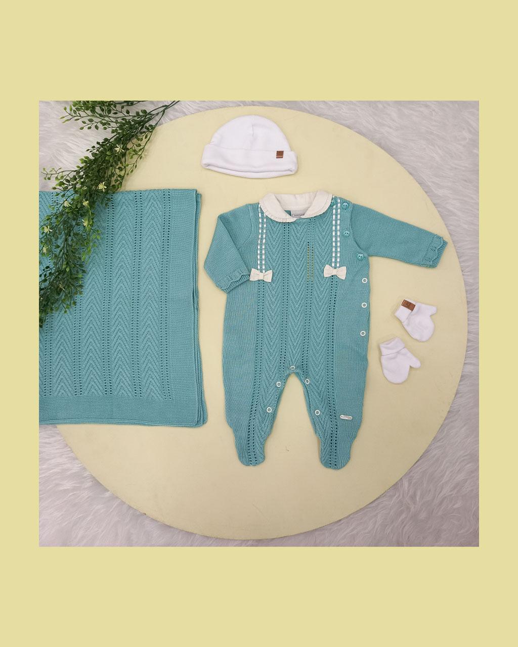 Saída Maternidade Feminina Algodão e Linha Bordada Verde Tiffany Noruega