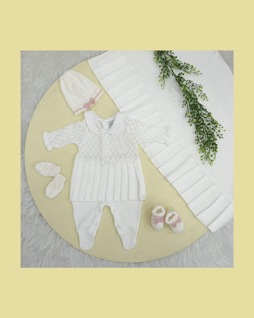 Saída Maternidade Feminina Algodão e Linha Branca Bordada com Perólas Noruega
