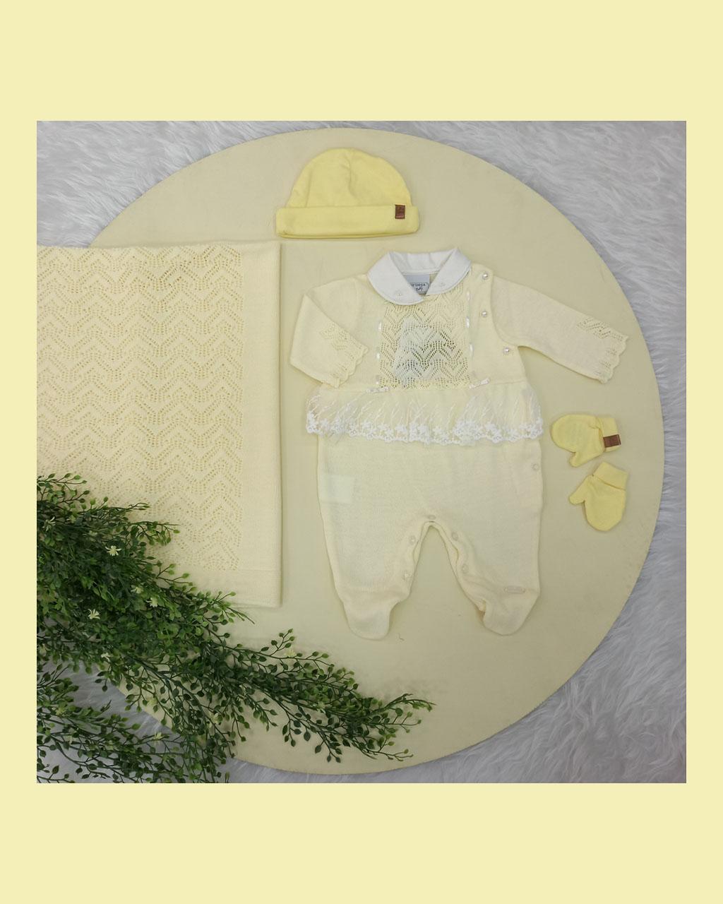 Saída Maternidade Feminina Tricô com Renda Amarelo Bebê Noruega